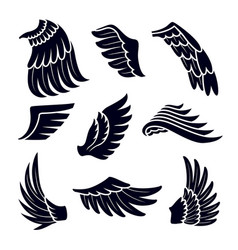 wings black silhouettes icons set isolated on vector image