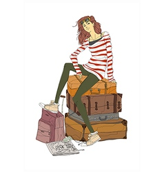 Woman travellers sitting vector