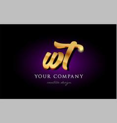 Wt w t 3d gold golden alphabet letter metal logo vector