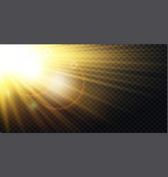 yellow warm light effect sun rays beams vector image
