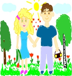 Young man and woman on nature vector
