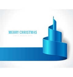 Christmas blue tree from ribbon background vector image vector image