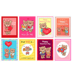 happy valentines day i love you set of poster bear vector image
