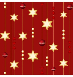 seamless christmas balls and stars on the red back vector image