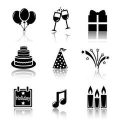Set of black icons holidays vector image vector image