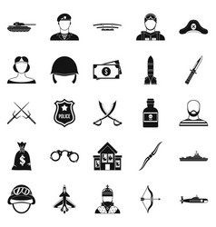 weapon icons set simple style vector image