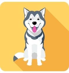 Alaskan Malamute dog icon flat design vector image