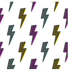 bright lightning bolt seamless pattern fun design vector image