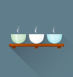 flat triple Chinese tea cups on stand icon vector image vector image