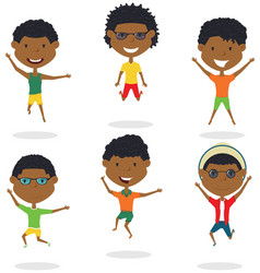 happy african-american cartoon boys jumping vector image