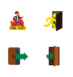 flat icon emergency set of entrance directional vector image vector image