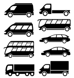 set transport icon on white background vector image vector image
