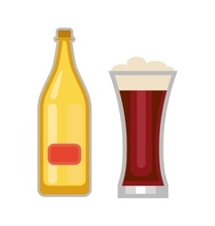 Beer glass and bottle vector image vector image