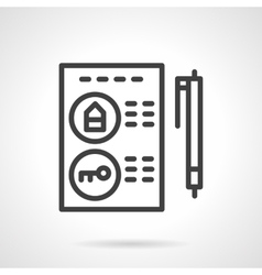 Buying a property black line icon vector image