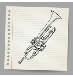 Doodle trumpet vector image vector image