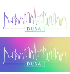 Dubai skyline colorful linear style vector