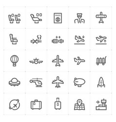 icon set - airplane and airport vector image vector image