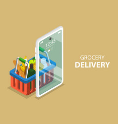 3d isometric flat concept grocery order vector