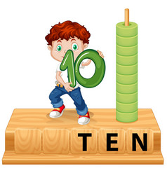 a boy hilding number ten vector image