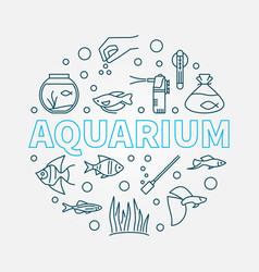 Aquarium round made line vector