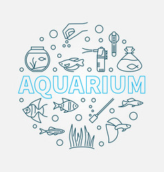 Aquarium round made of line vector