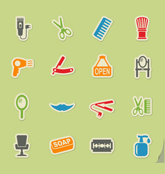 barbershop icon set vector image
