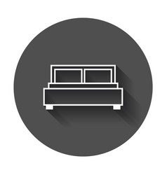 bed bed icon with long shadow vector image