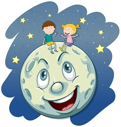 Boy and girl on the fullmoon vector