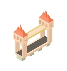 Bridge with towers icon cartoon style vector