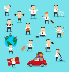 businessman traveling doing shopping and exercise vector image