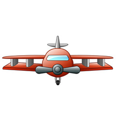 cartoon biplane flying isolated on white backgroun vector image