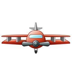 cartoon biplane flying isolated on white backgroun vector image