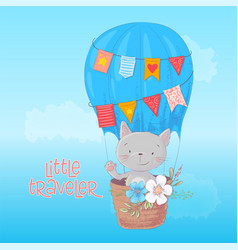 cartoon cute cat and bird is flying on balloon vector image
