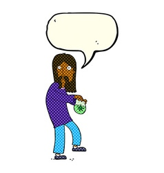 cartoon hippie man with bag of weed with speech vector image