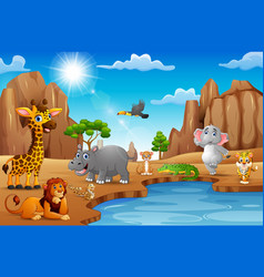 Cartoon wild animals living in the desert vector