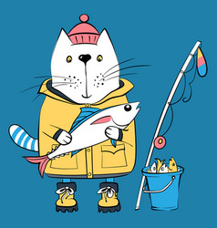 cat fisherman and his catch vector image