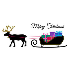 christmas reindeer with collar and pile of vector image
