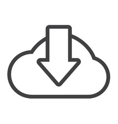 cloud download line icon seo and website vector image