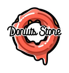Color vintage donuts store emblem vector