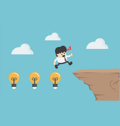 concept cartoon businessman crosses a high cliff vector image