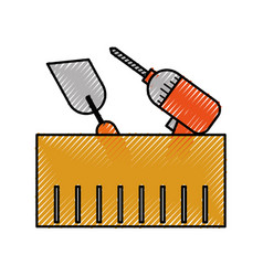 Construction box with drill spatula tools vector