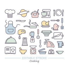 cooking icon set linear icons with editable vector image