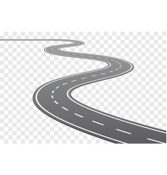 Curved road with white lines vector
