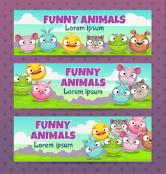 cute childish set horizontal banners vector image