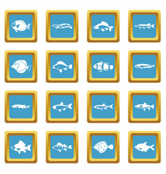 cute fish icons azure vector image