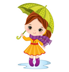 Cute little girl with umbrella vector