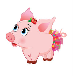 Cute loving piglet vector