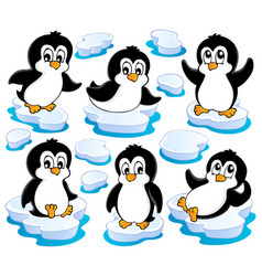 cute penguins collection 2 vector image