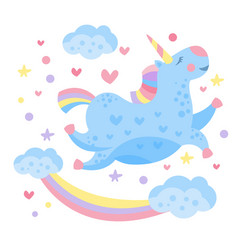 cute rainbow unicorn in the clouds vector image