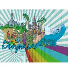 Denpasar doodles vector